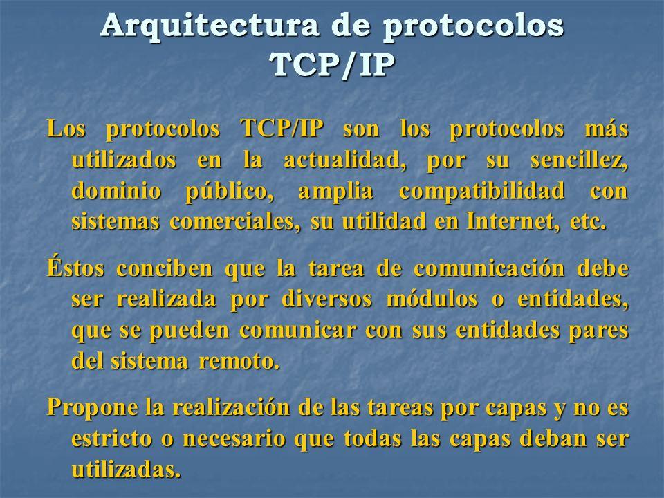 Arquitectura de protocolos TCP/IP Los protocolos TCP/IP son los protocolos más utilizados en la actualidad, por su sencillez, dominio público, amplia