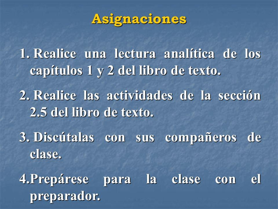 Asignaciones 1. Realice una lectura analítica de los capítulos 1 y 2 del libro de texto. 2. Realice las actividades de la sección 2.5 del libro de tex