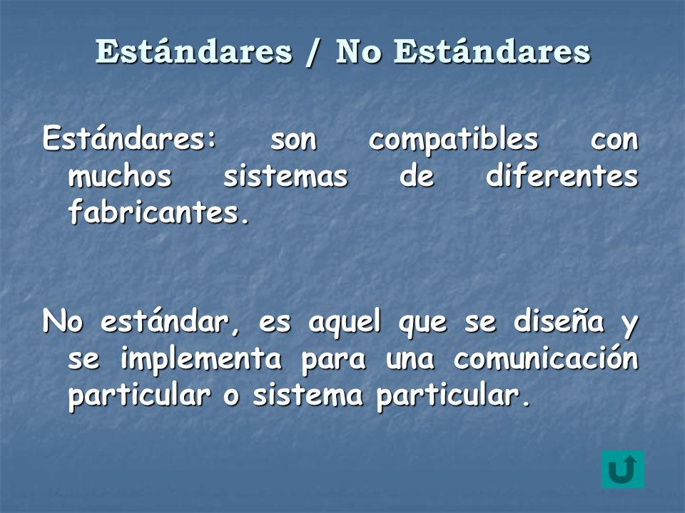 Estándares: son compatibles con muchos sistemas de diferentes fabricantes. No estándar, es aquel que se diseña y se implementa para una comunicación p