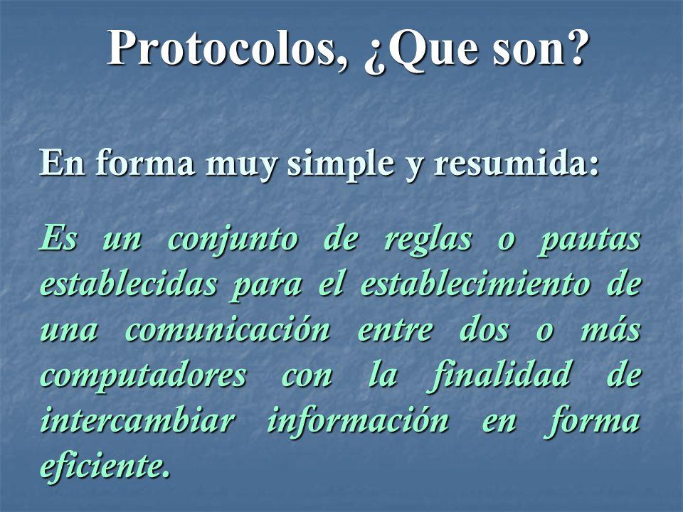 Protocolos, ¿Que son? Protocolos, ¿Que son? En forma muy simple y resumida: Es un conjunto de reglas o pautas establecidas para el establecimiento de