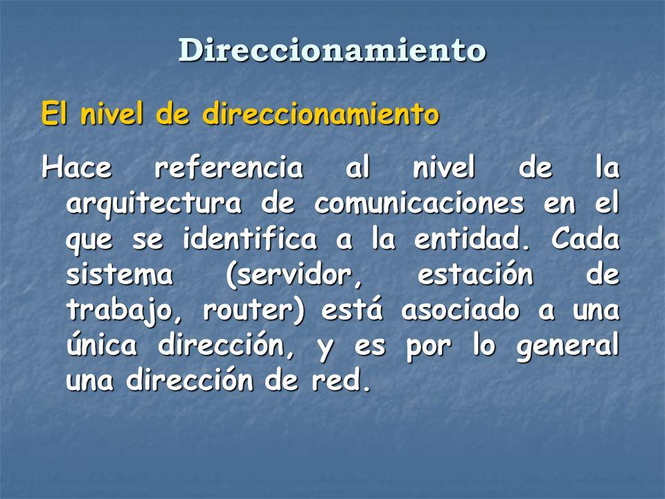 El nivel de direccionamiento Hace referencia al nivel de la arquitectura de comunicaciones en el que se identifica a la entidad. Cada sistema (servido