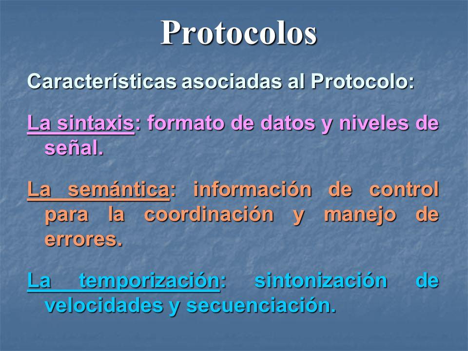 Protocolos Protocolos Características asociadas al Protocolo: La sintaxis: formato de datos y niveles de señal. La semántica: información de control p