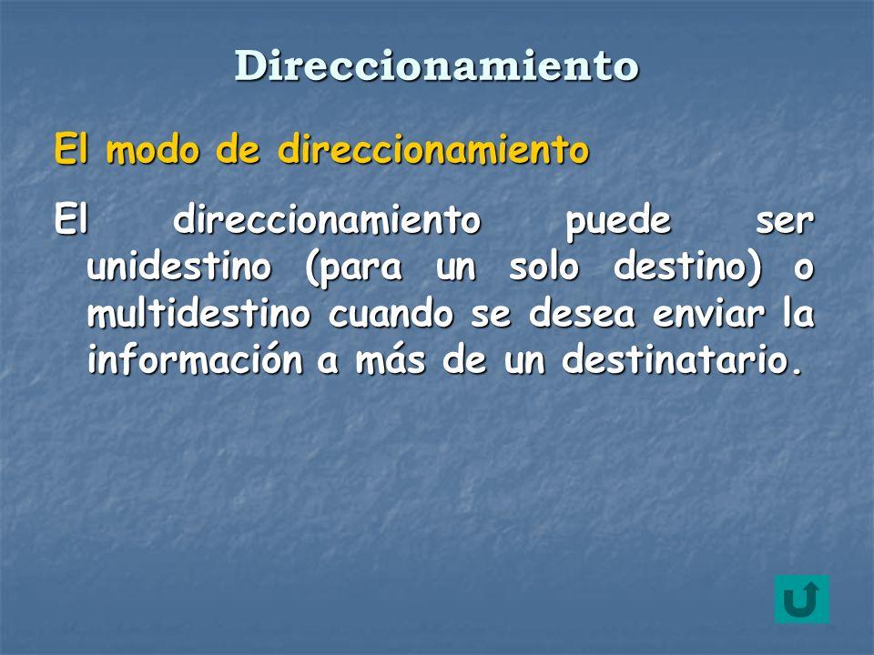El modo de direccionamiento El direccionamiento puede ser unidestino (para un solo destino) o multidestino cuando se desea enviar la información a más