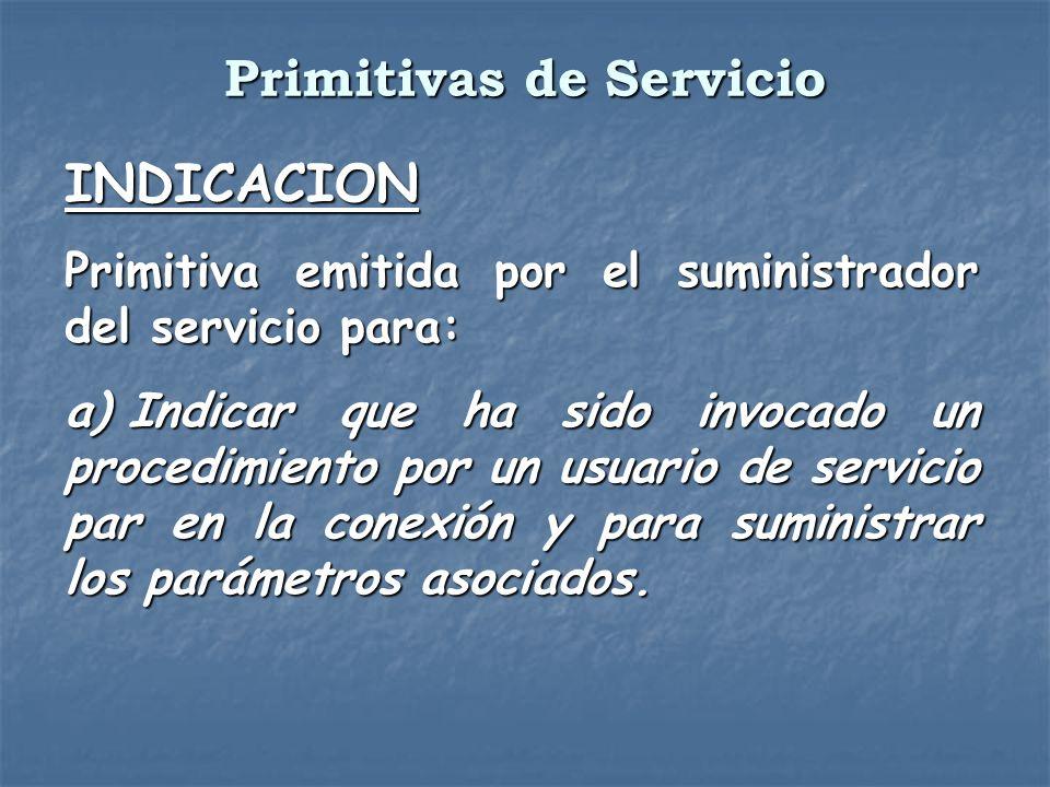 INDICACION Primitiva emitida por el suministrador del servicio para: a) Indicar que ha sido invocado un procedimiento por un usuario de servicio par e
