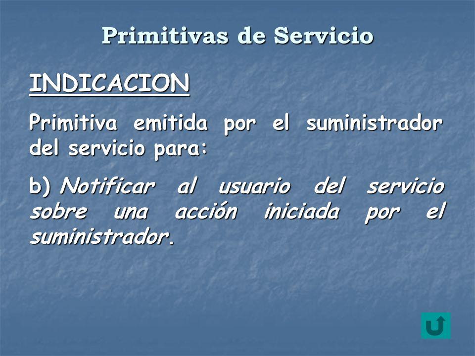 INDICACION Primitiva emitida por el suministrador del servicio para: b) Notificar al usuario del servicio sobre una acción iniciada por el suministrad