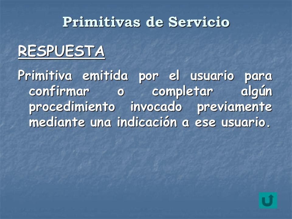 RESPUESTA Primitiva emitida por el usuario para confirmar o completar algún procedimiento invocado previamente mediante una indicación a ese usuario.