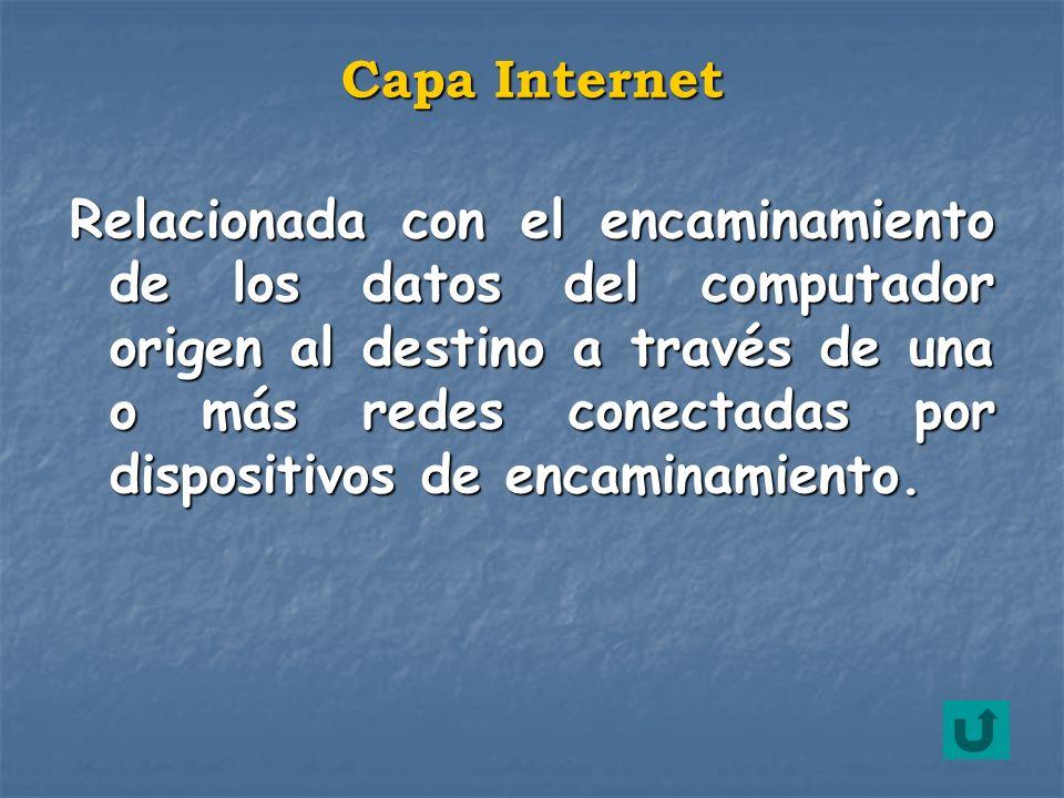 Relacionada con el encaminamiento de los datos del computador origen al destino a través de una o más redes conectadas por dispositivos de encaminamie