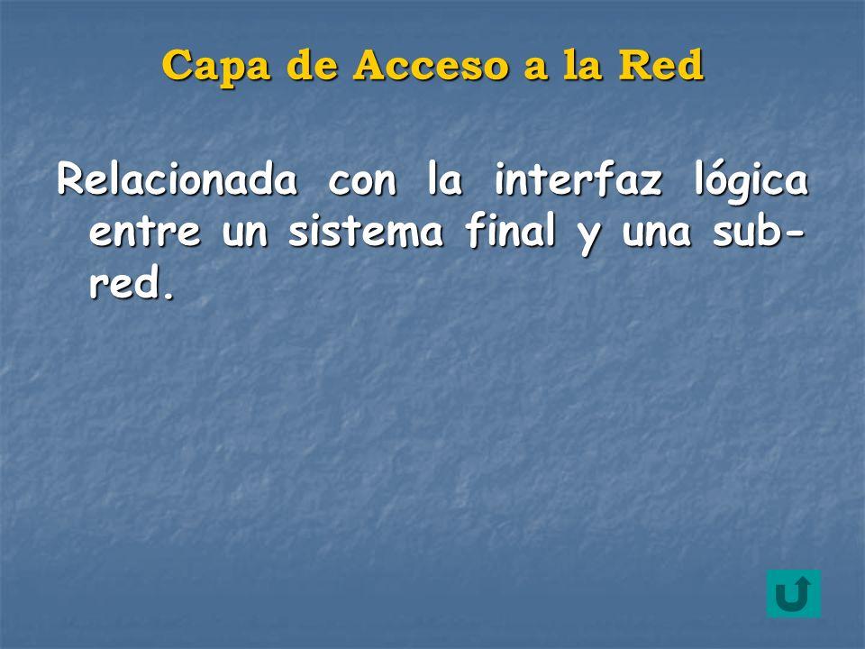 Relacionada con la interfaz lógica entre un sistema final y una sub- red. Capa de Acceso a la Red