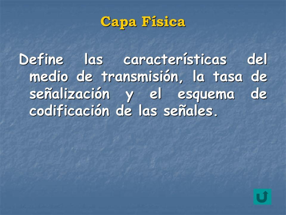 Define las características del medio de transmisión, la tasa de señalización y el esquema de codificación de las señales. Capa Física