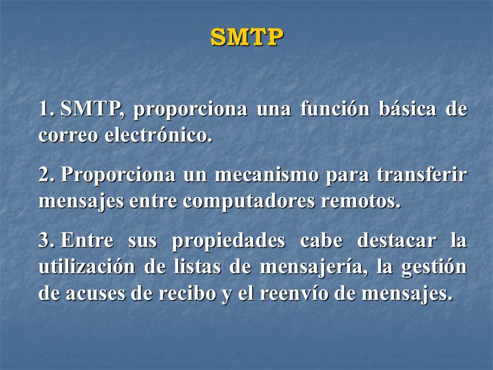 SMTP 1. SMTP, proporciona una función básica de correo electrónico. 2. Proporciona un mecanismo para transferir mensajes entre computadores remotos. 3