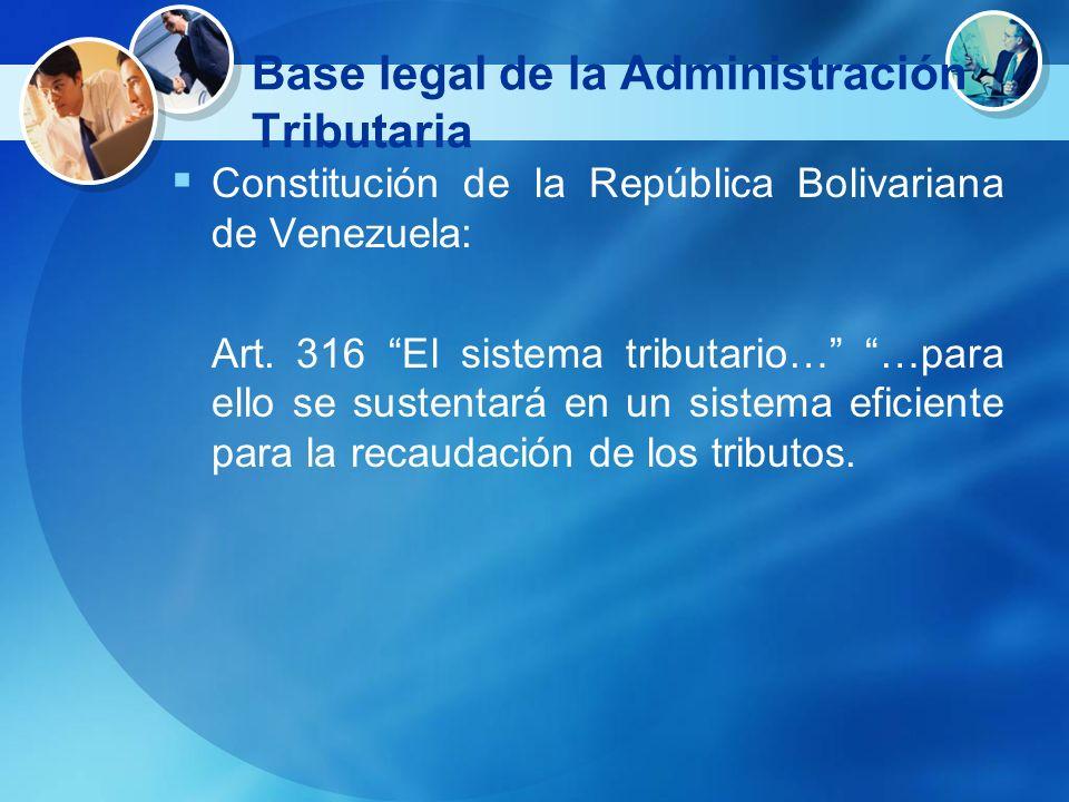 Base legal de la Administración Tributaria Constitución de la República Bolivariana de Venezuela: Art. 316 El sistema tributario… …para ello se susten