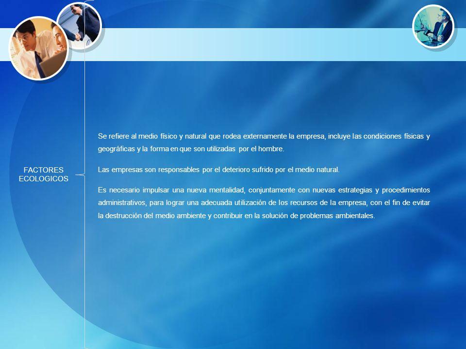 FACTORES ECOLOGICOS Se refiere al medio físico y natural que rodea externamente la empresa, incluye las condiciones físicas y geográficas y la forma e
