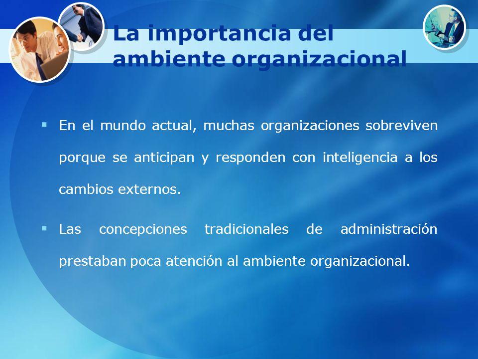 La importancia del ambiente organizacional En el mundo actual, muchas organizaciones sobreviven porque se anticipan y responden con inteligencia a los