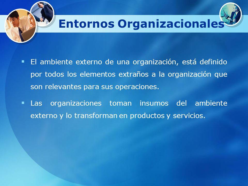 Entornos Organizacionales El ambiente externo de una organización, está definido por todos los elementos extraños a la organización que son relevantes