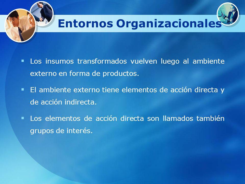 Entornos Organizacionales Los insumos transformados vuelven luego al ambiente externo en forma de productos. El ambiente externo tiene elementos de ac