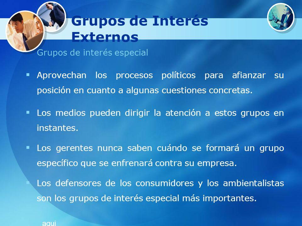 Grupos de Interés Externos Grupos de interés especial Aprovechan los procesos políticos para afianzar su posición en cuanto a algunas cuestiones concr