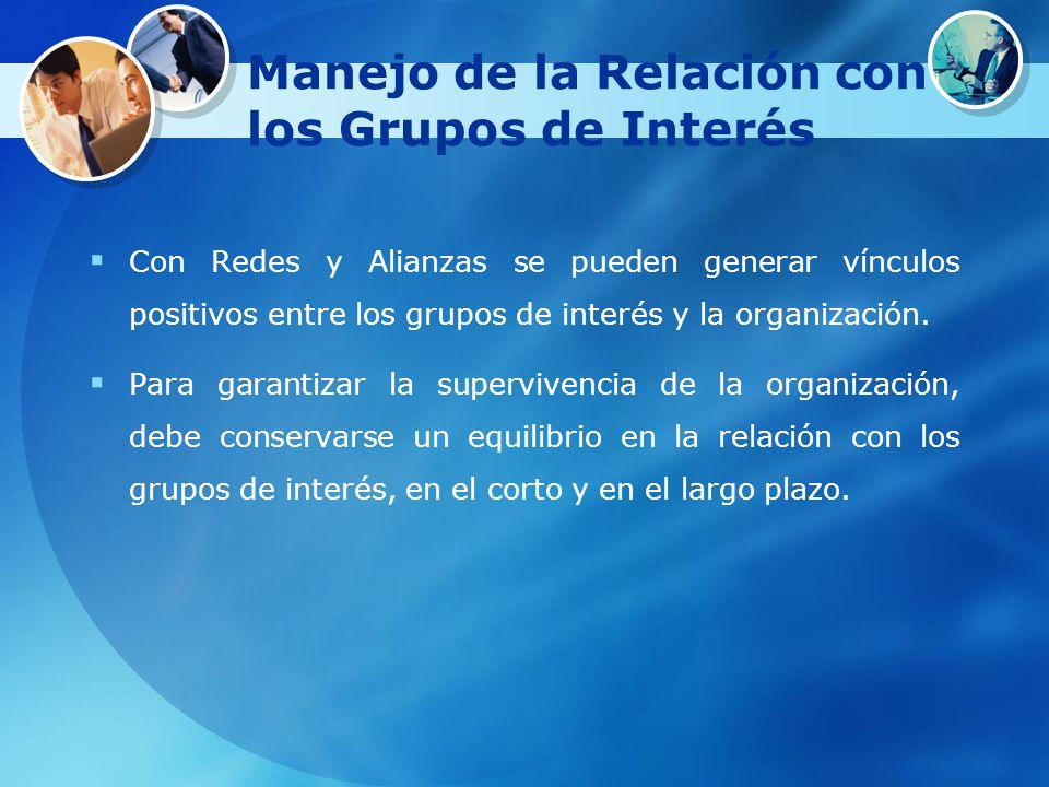 Manejo de la Relación con los Grupos de Interés Con Redes y Alianzas se pueden generar vínculos positivos entre los grupos de interés y la organizació