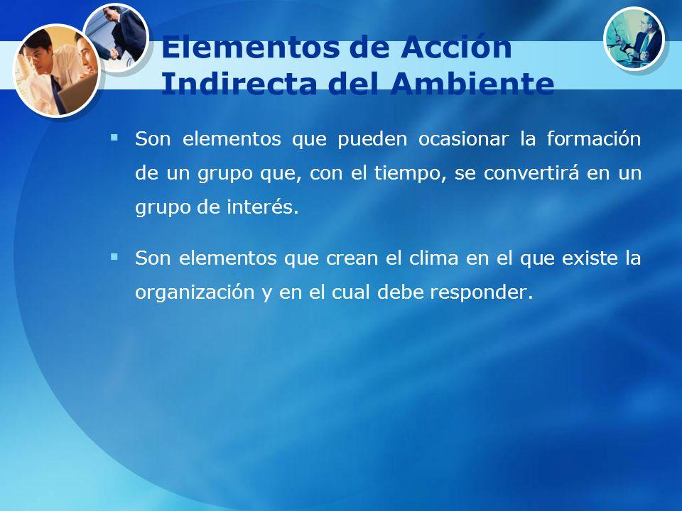 Elementos de Acción Indirecta del Ambiente Son elementos que pueden ocasionar la formación de un grupo que, con el tiempo, se convertirá en un grupo d