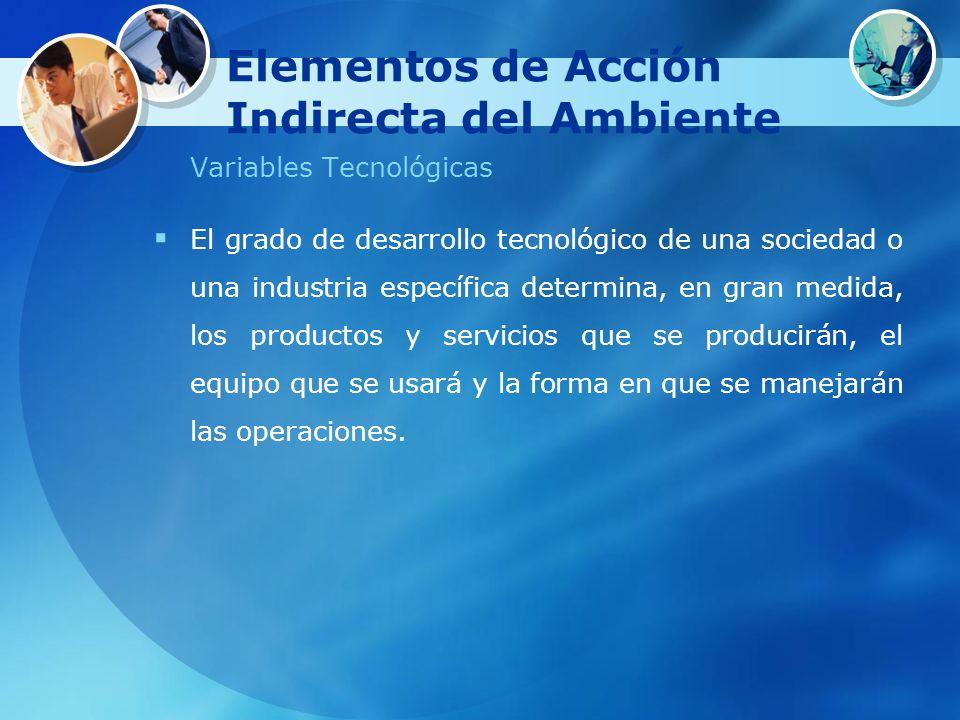 Elementos de Acción Indirecta del Ambiente Variables Tecnológicas El grado de desarrollo tecnológico de una sociedad o una industria específica determ