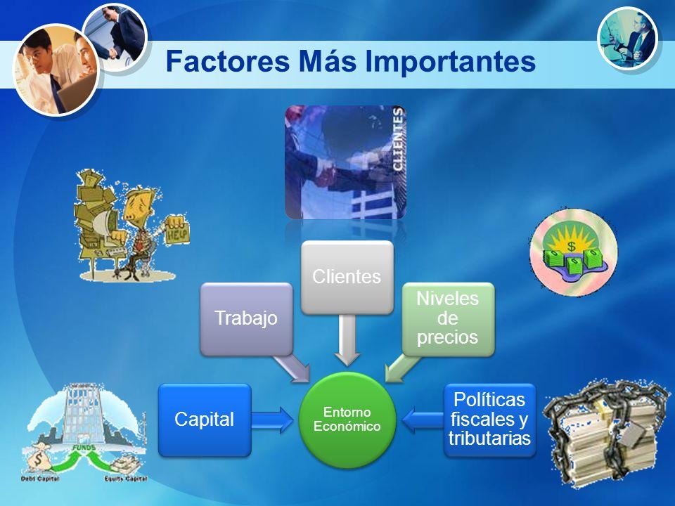 Factores Más Importantes Entorno Económico CapitalTrabajoClientes Niveles de precios Políticas fiscales y tributarias