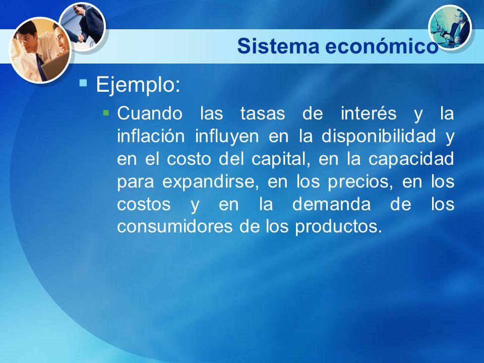 Sistema económico Ejemplo: Cuando las tasas de interés y la inflación influyen en la disponibilidad y en el costo del capital, en la capacidad para ex