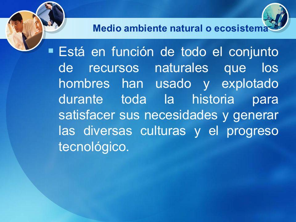 Medio ambiente natural o ecosistema Está en función de todo el conjunto de recursos naturales que los hombres han usado y explotado durante toda la hi
