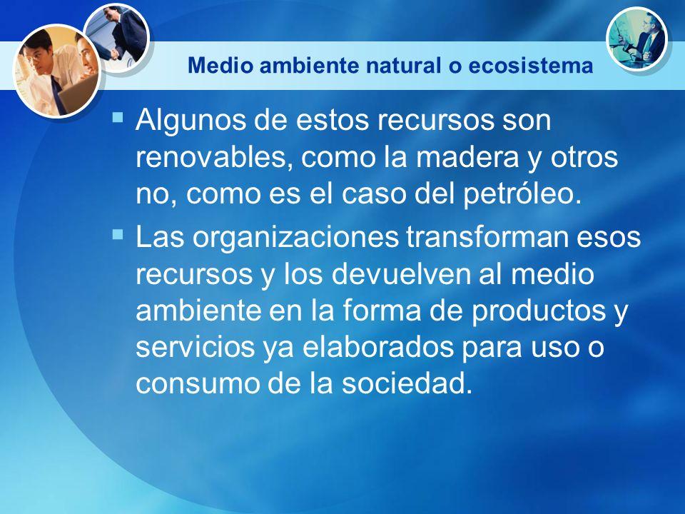 Medio ambiente natural o ecosistema Algunos de estos recursos son renovables, como la madera y otros no, como es el caso del petróleo. Las organizacio