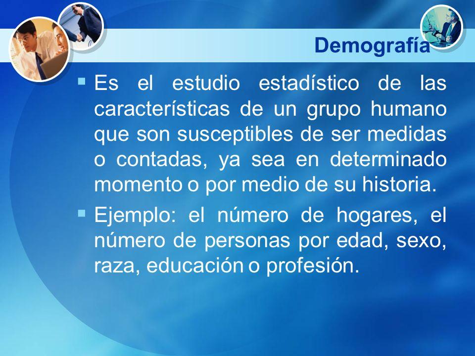 Demografía Es el estudio estadístico de las características de un grupo humano que son susceptibles de ser medidas o contadas, ya sea en determinado m