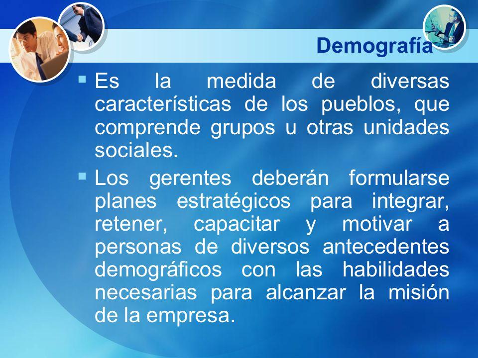 Demografía Es la medida de diversas características de los pueblos, que comprende grupos u otras unidades sociales. Los gerentes deberán formularse pl