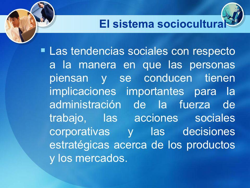 El sistema sociocultural Las tendencias sociales con respecto a la manera en que las personas piensan y se conducen tienen implicaciones importantes p