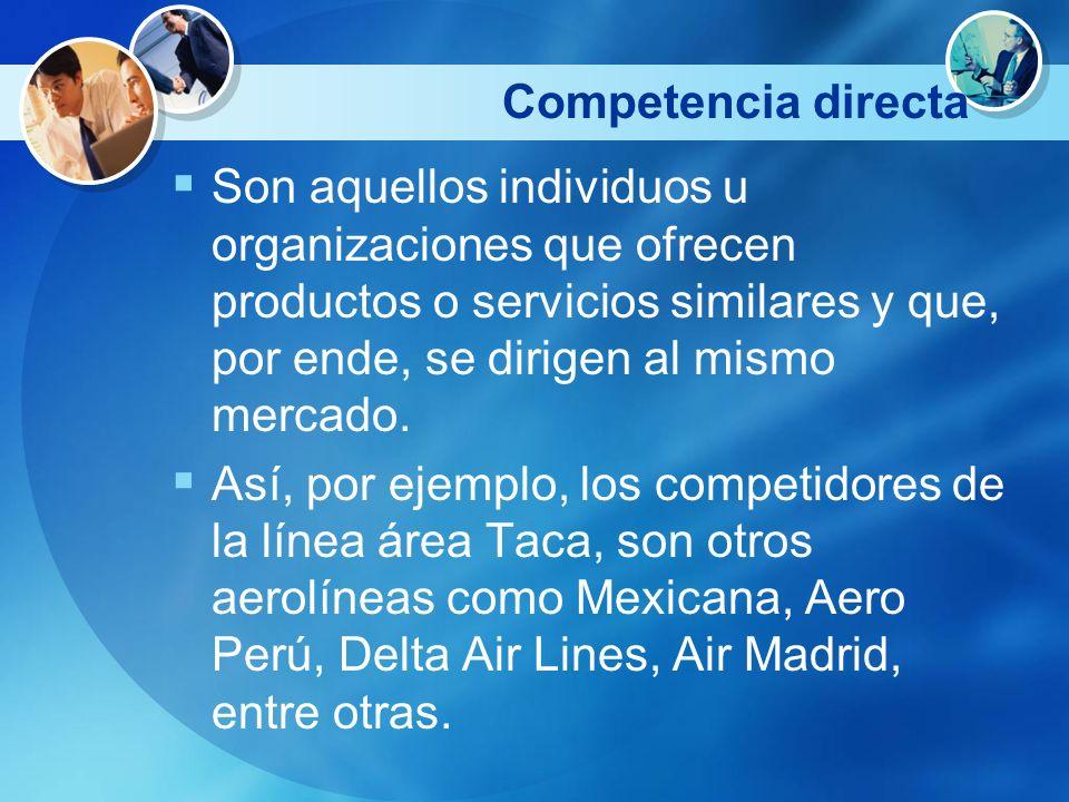 Competencia directa Son aquellos individuos u organizaciones que ofrecen productos o servicios similares y que, por ende, se dirigen al mismo mercado.