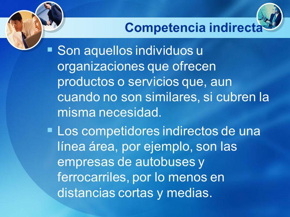 Competencia indirecta Son aquellos individuos u organizaciones que ofrecen productos o servicios que, aun cuando no son similares, si cubren la misma