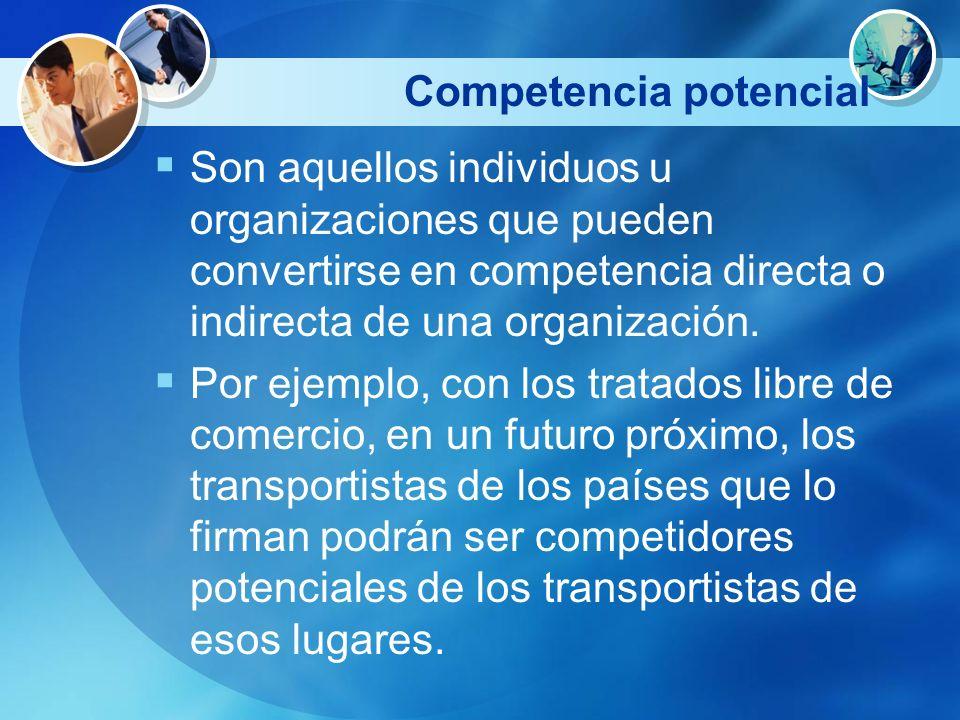 Competencia potencial Son aquellos individuos u organizaciones que pueden convertirse en competencia directa o indirecta de una organización. Por ejem
