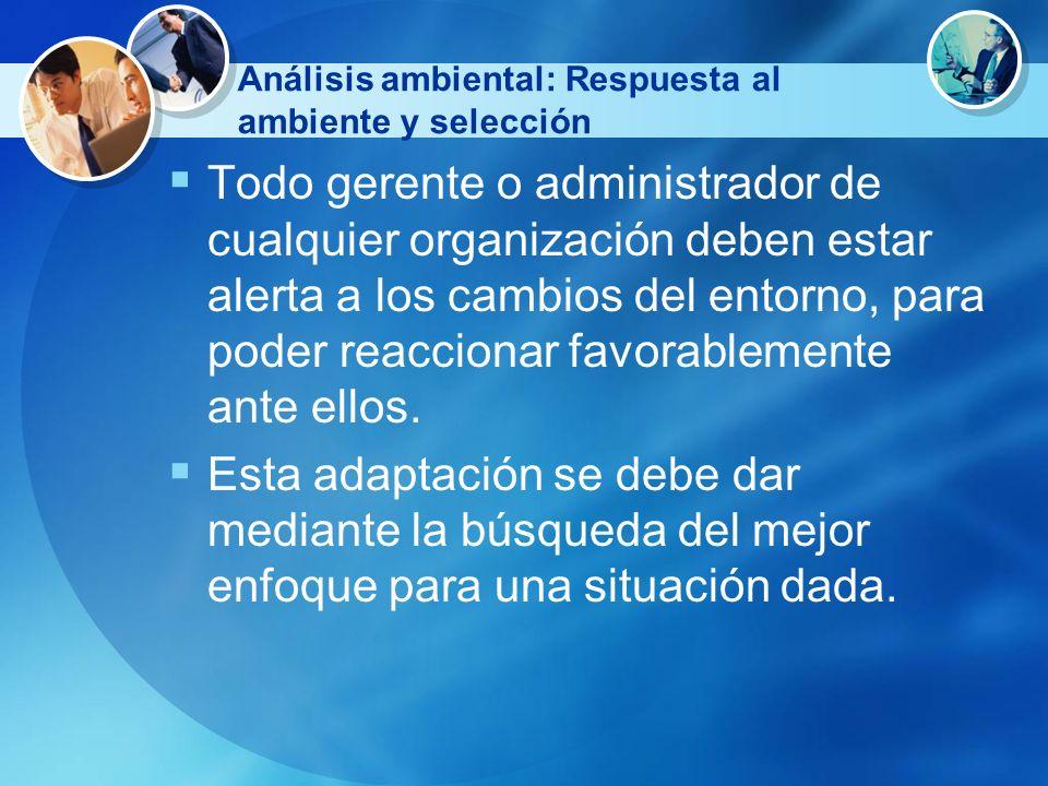 Análisis ambiental: Respuesta al ambiente y selección Todo gerente o administrador de cualquier organización deben estar alerta a los cambios del ento