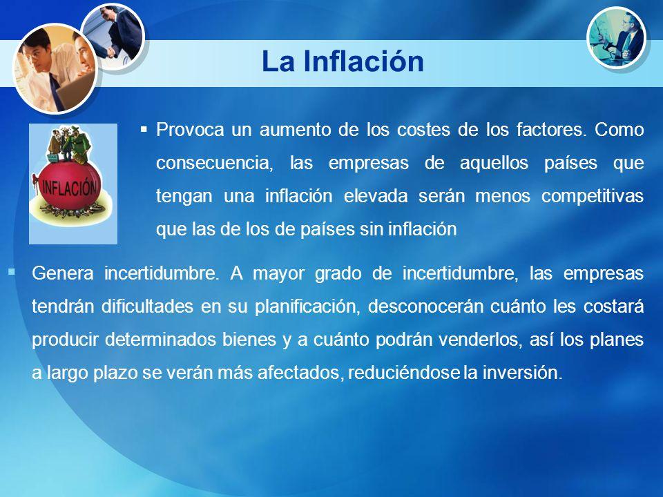 La Inflación Provoca un aumento de los costes de los factores. Como consecuencia, las empresas de aquellos países que tengan una inflación elevada ser