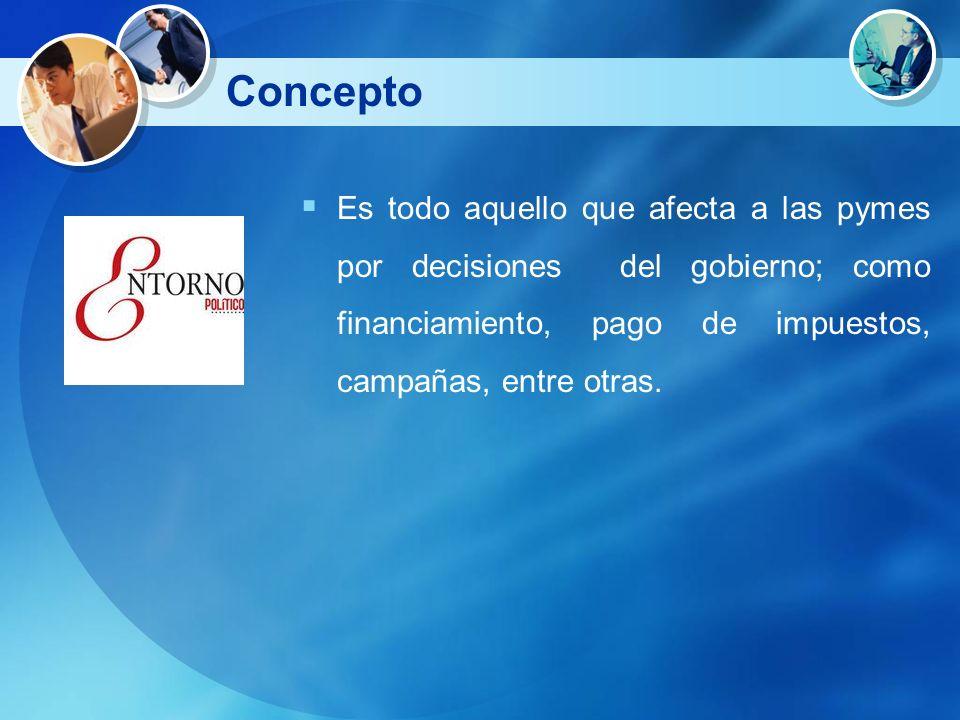 Concepto Es todo aquello que afecta a las pymes por decisiones del gobierno; como financiamiento, pago de impuestos, campañas, entre otras.