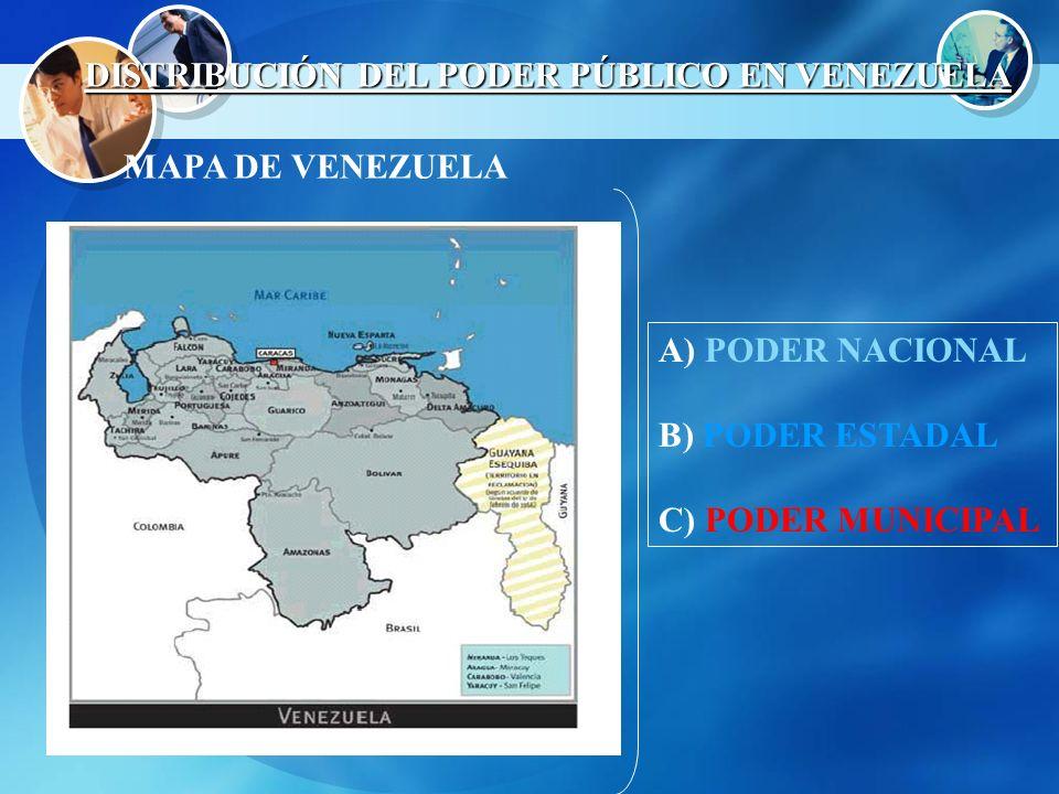 A) PODER NACIONAL B) PODER ESTADAL C) PODER MUNICIPAL MAPA DE VENEZUELA DISTRIBUCIÓN DEL PODER PÚBLICO EN VENEZUELA