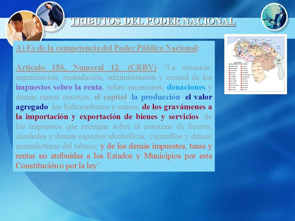 TRIBUTOS DEL PODER NACIONAL A) Es de la competencia del Poder Público Nacional A) Es de la competencia del Poder Público Nacional: Articulo 156, Numer