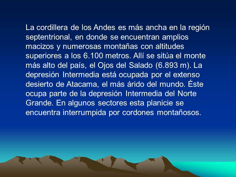 CHILE Y SUS RELIEVE Chile puede dividirse longitudinalmente en tres regiones morfológicas: la majestuosa cordillera de los Andes al este, la cordiller