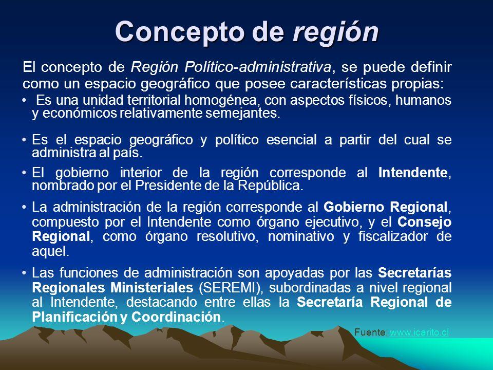 Organización regional De acuerdo a lo estipulado por el Plan de Regionalización establecido en 1974, la nueva organización político- administrativa co