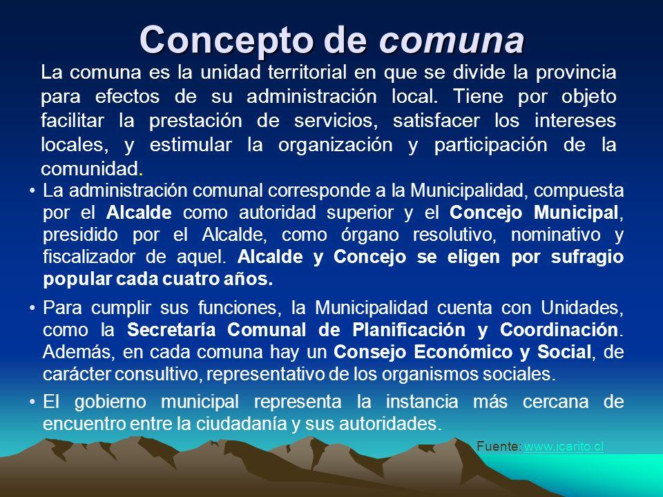 Concepto de provincia La provincia se define como la unidad territorial en que se divide la región y como un ámbito geográfico con un destino producti