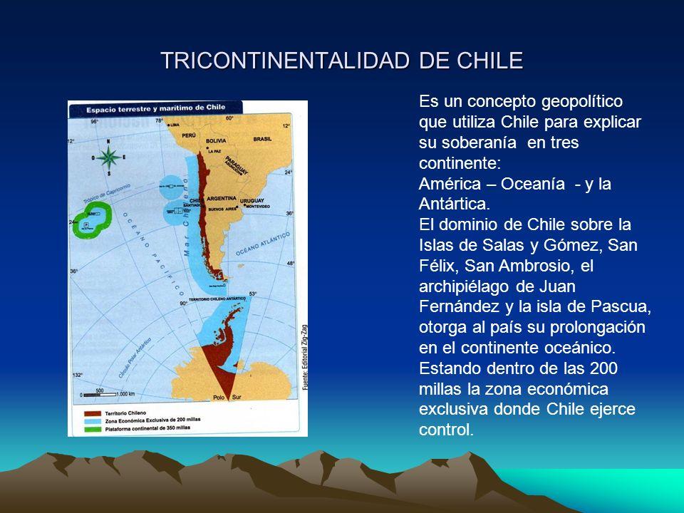 TRICONTINENTALIDAD DE CHILE Es un concepto geopolítico que utiliza Chile para explicar su soberanía en tres continente: América – Oceanía - y la Antártica.