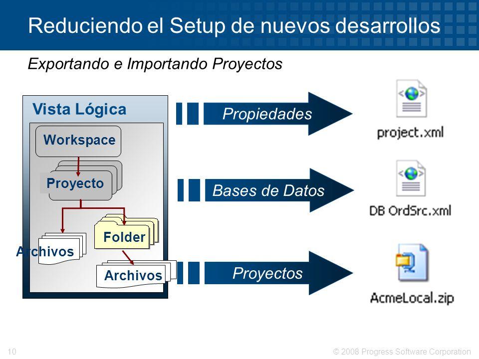 © 2008 Progress Software Corporation10 Reduciendo el Setup de nuevos desarrollos Exportando e Importando Proyectos Vista Lógica Workspace Proyecto Fol