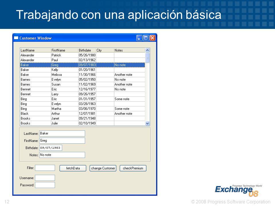 © 2008 Progress Software Corporation12 Trabajando con una aplicación básica