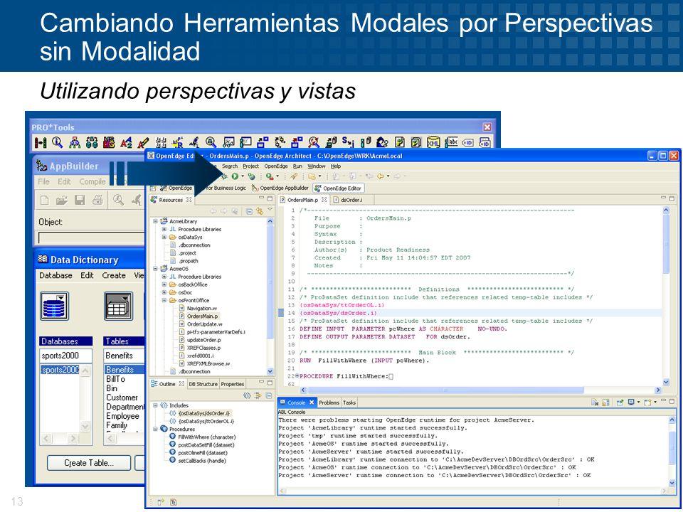 © 2008 Progress Software Corporation13 Cambiando Herramientas Modales por Perspectivas sin Modalidad Utilizando perspectivas y vistas