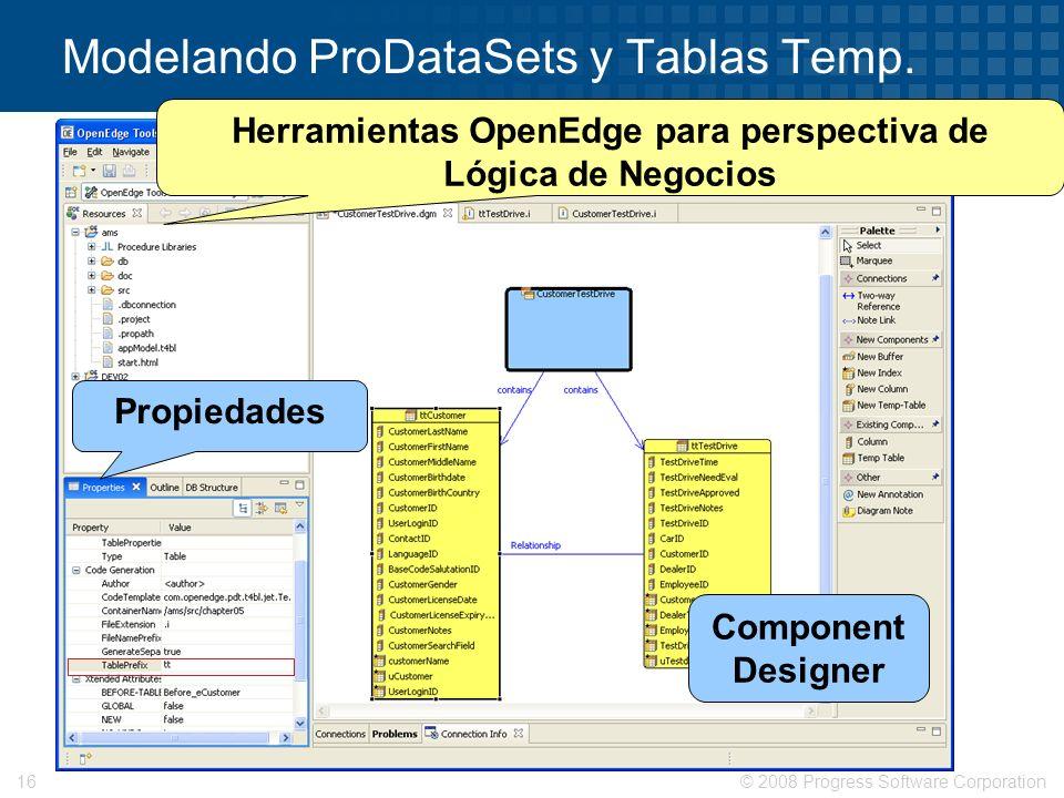 © 2008 Progress Software Corporation16 Modelando ProDataSets y Tablas Temp. Component Designer Propiedades Herramientas OpenEdge para perspectiva de L