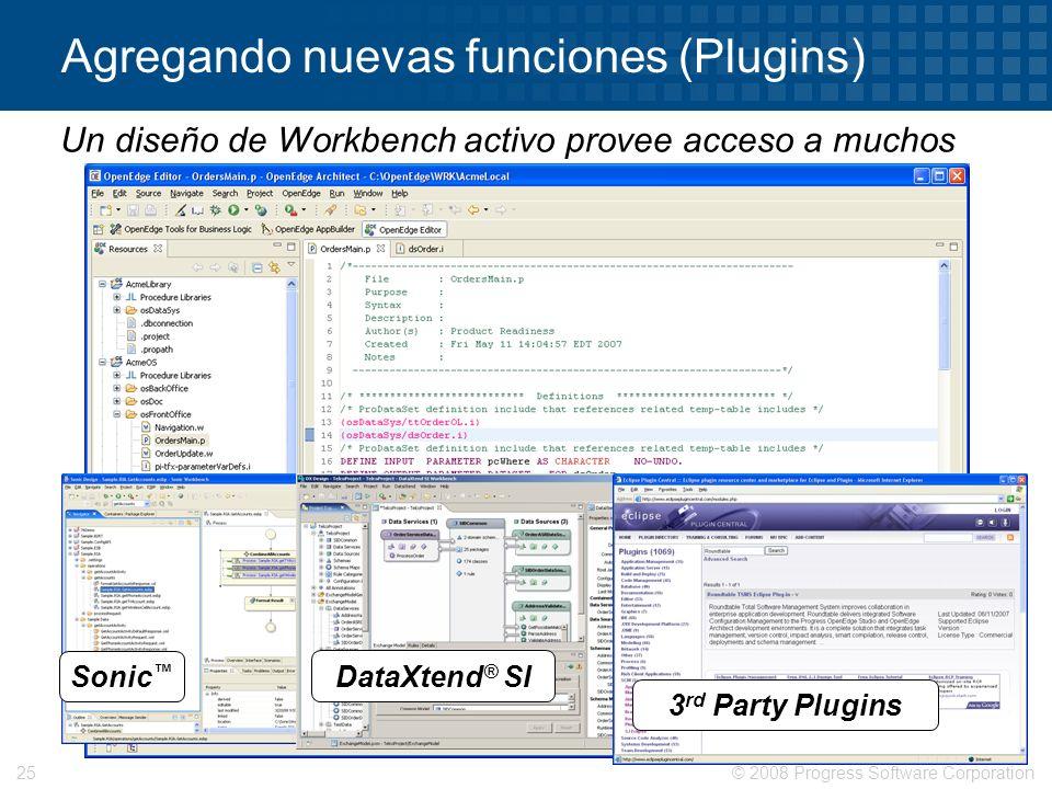 © 2008 Progress Software Corporation25 Agregando nuevas funciones (Plugins) Sonic DataXtend ® SI 3 rd Party Plugins Un diseño de Workbench activo prov