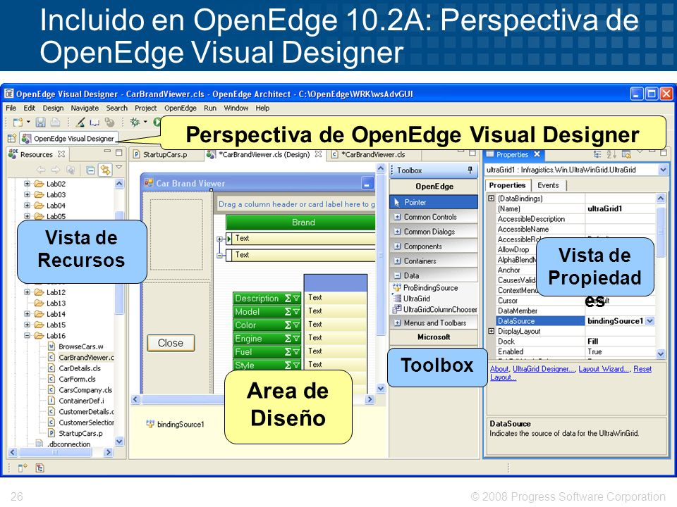 © 2008 Progress Software Corporation26 Incluido en OpenEdge 10.2A: Perspectiva de OpenEdge Visual Designer Perspectiva de OpenEdge Visual Designer Vis