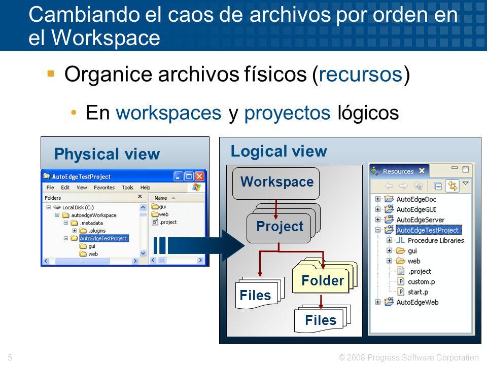 © 2008 Progress Software Corporation5 Cambiando el caos de archivos por orden en el Workspace Organice archivos físicos (recursos) En workspaces y pro