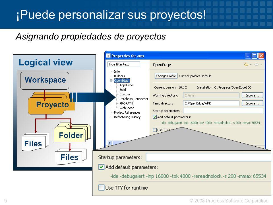 © 2008 Progress Software Corporation9 ¡Puede personalizar sus proyectos! Asignando propiedades de proyectos Logical view Workspace Proyecto Folder Fil